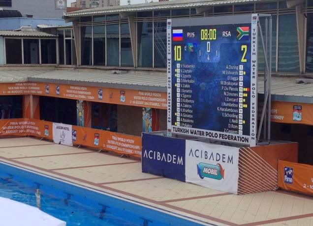 SA U18 Water Polo Team Score board