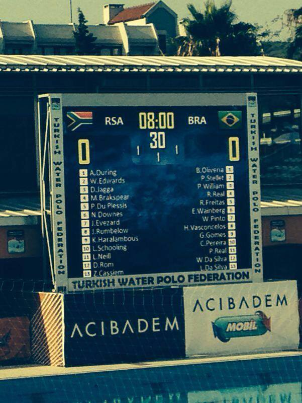 Line up for SA vs Russia World_Mens_Youth Water Polo_Champs 2014