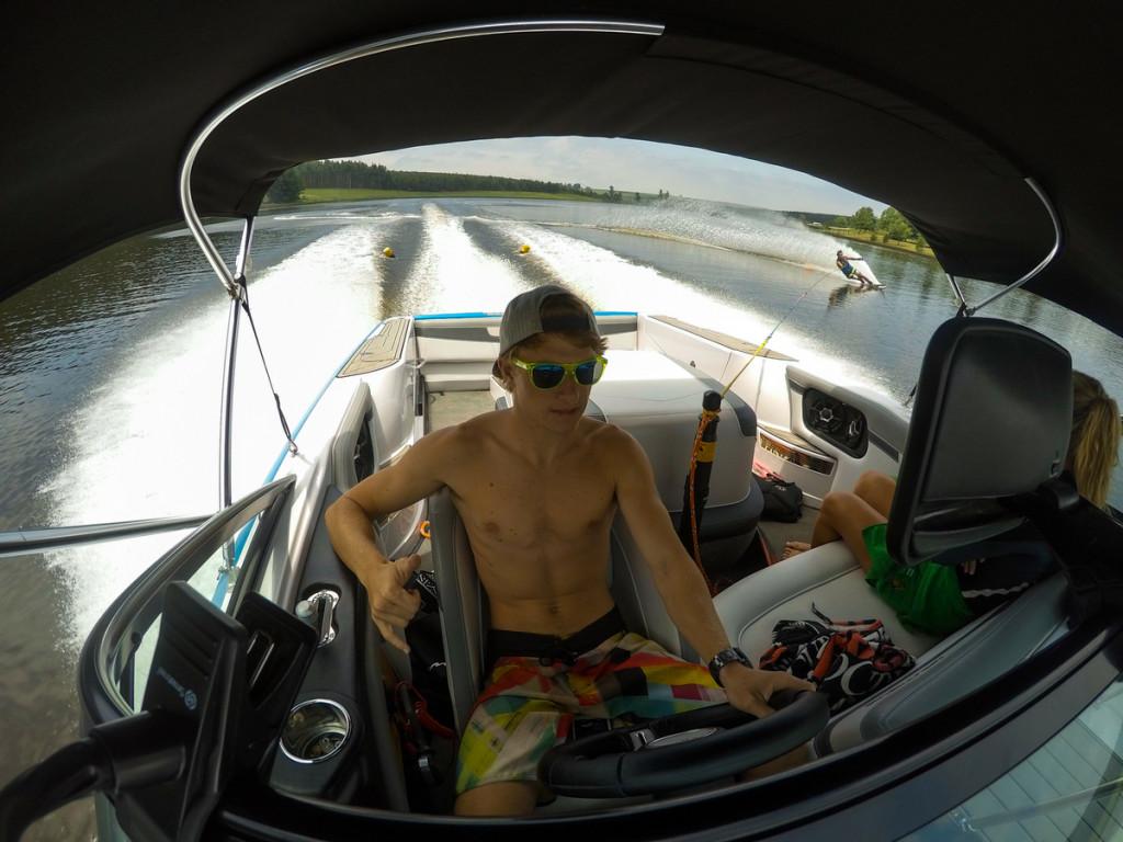 Travis Fischer water skier in South Africa