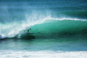 Thomas King in the barrel in Kommetjie