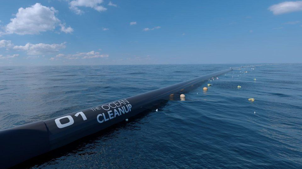 A close-up computer rendering of The Ocean Cleanup system.ERWIN ZWART/THE OCEAN CLEANUP